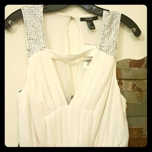 Forever 21 Cream Evening Gown with Sequin Shoulder